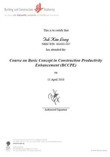 BCA Course Certificate