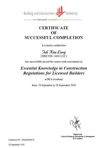BCA Successful Completion Certificate
