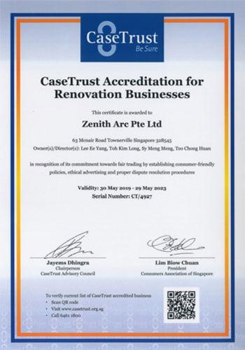 Case Trust Renovation Certificate